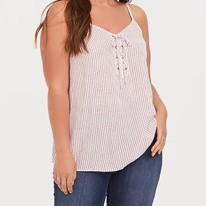 Torrid Striped Lace Up Tank Top
